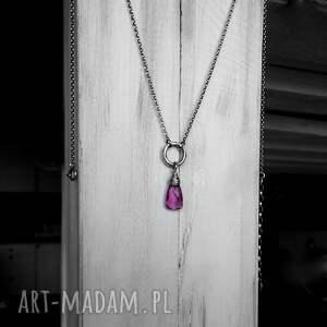 oryginalne naszyjniki geometryczny srebro i kwarc różowy - delikatny