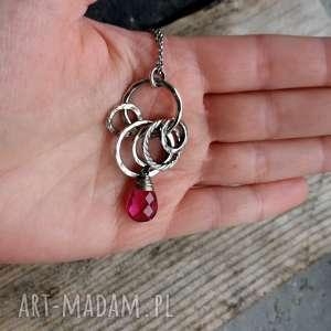 Cocopunk Srebro i kwarc różowy - długi naszyjnik z-kamieniem