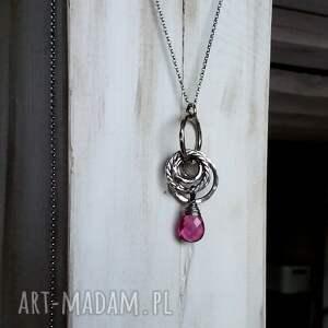 różowe naszyjniki długi naszyjnik srebro i kwarc różowy