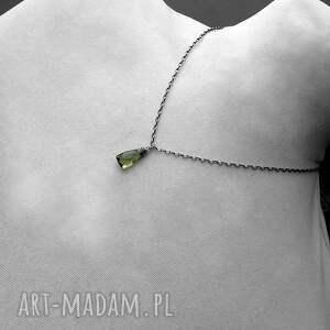 nowoczesny naszyjniki srebro i kwarc zielony oliwkowy