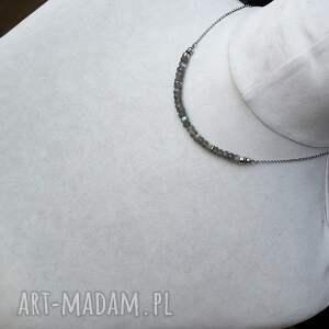 niesztampowe naszyjniki modny srebro i labradoryt - krótki