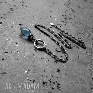 niebieskie naszyjniki srebro i markiza kwarcu- granatowy