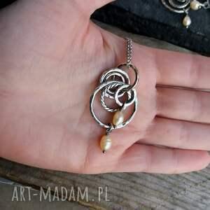 srebrne naszyjniki perły srebro i - długi naszyjnik