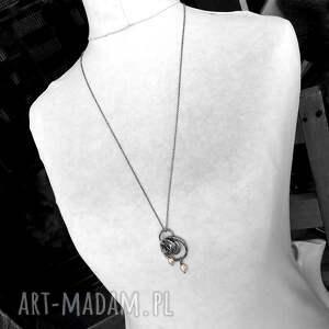 długi naszyjniki kolorowe srebro i perły - naszyjnik
