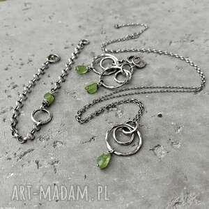 naszyjniki srebro-oksydowane srebro i surowy peridot - długi