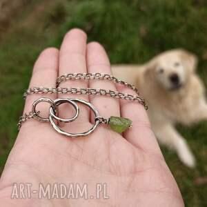 zielone naszyjniki długi srebro i surowy peridot