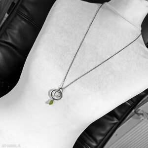 unikalne naszyjniki z-kamieniem srebro i surowy peridot - długi