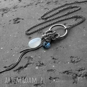 naszyjniki biały srebro, kamień księżycowy, kwarc