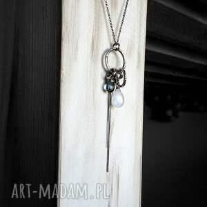 naszyjniki długi srebro, kamień księżycowy, kwarc