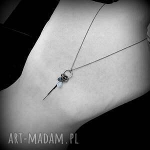 długi naszyjniki niebieskie srebro, kamień księżycowy, kwarc
