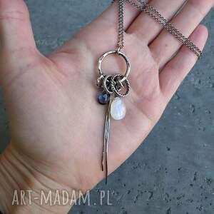białe naszyjniki z-zawieszkami srebro, kamień księżycowy, kwarc