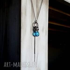 niesztampowe naszyjniki niebieski srebro, kwarc swiss blue - długi