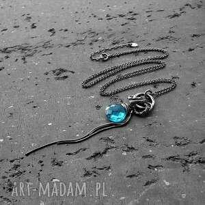 prezent-dla-niej naszyjniki srebro, kwarc swiss blue - długi