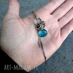 turkusowe naszyjniki niebieski srebro, kwarc swiss blue - długi