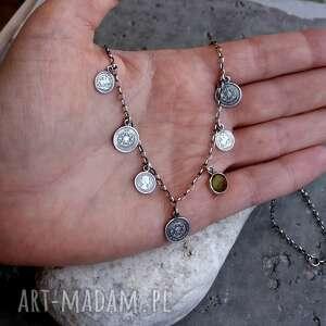 naszyjniki: Srebro 925 - naszyjnik z monetami w stylu boho - 5 kolorów - krótki z-monetami