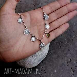 naszyjniki: Srebro 925 - naszyjnik z monetami w stylu boho - 5 kolorów - krótki z-zawieszkami