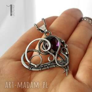 naszyjniki serce purple heart srebrny naszyjnik z
