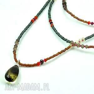 handmade naszyjniki długi srebro, toho i minerały
