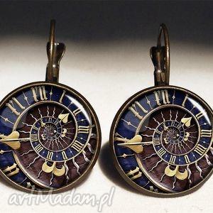 steampunk naszyjniki niebieskie - medalion z łańcuszkiem