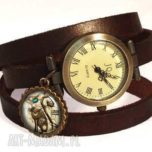 steampunk naszyjniki turkusowe steampunkowy kot - duży medalion