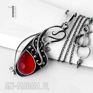 srebrne naszyjniki agat strawberry srebrny naszyjnik