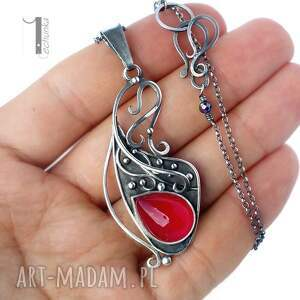 naszyjnik naszyjniki różowe strawberry srebrny