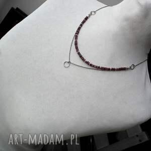 surowy naszyjniki surowe rubiny i srebro- podwójny