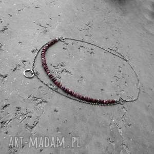 naszyjniki surowy surowe rubiny i srebro - podwójny