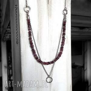 nietypowe naszyjniki rubinowy surowe rubiny i srebro- podwójny
