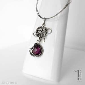 naszyjnik naszyjniki fioletowe syringa srebrny