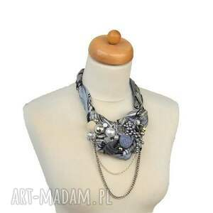 srebrne naszyjniki naszyjnik szara eminencja handmade