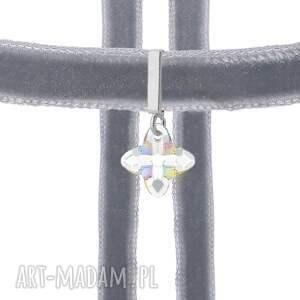 ręczne wykonanie naszyjniki choker szary z krzyżem swarovski
