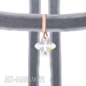 naszyjniki choker szary z krzyżem swarovski