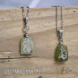 zielone naszyjniki srebro szkło antyczne. srebrny