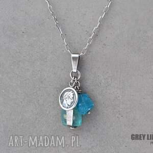 turkusowe naszyjniki srebro szkło antyczne i apatyt - wisior