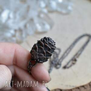 brązowe naszyjniki naszyjnik szyszka - prawdziwa pokryta