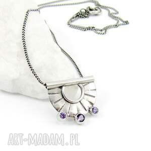 hand made naszyjniki drobny tiny pendant three lavender dots
