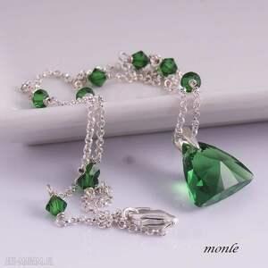zielone naszyjniki zielony triangle, delikatny naszyjnik