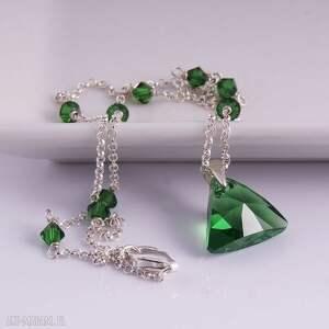 nietuzinkowe naszyjniki zielony triangle, delikatny naszyjnik