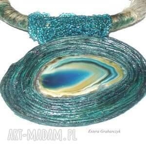 modne naszyjniki lniany turkusowy naszyjnik-agat