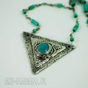 turkus naszyjniki srebrne turkusowy trójkąt