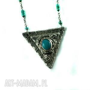 handmade naszyjniki turkus turkusowy trójkąt