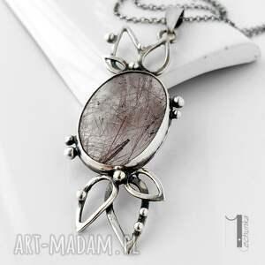 naszyjnik naszyjniki szare turmalinowy kwiat srebrny