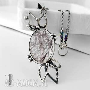 naszyjniki naszyjnik turmalinowy kwiat srebrny