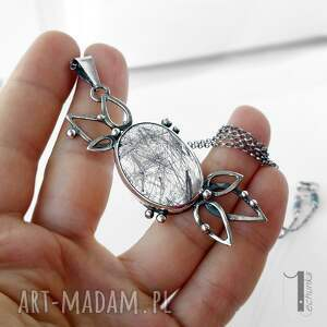 naszyjniki turmalin turmalinowy kwiat srebrny naszyjnik