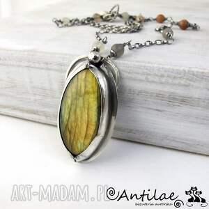 modne naszyjniki srebro urrere - labradoryt, kamień