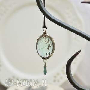 oryginalne naszyjniki naszyjnik z-liściem w błękicie - z prawdziwym