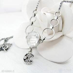 białe naszyjniki elegancki w krysztale księżyca