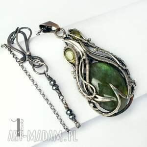 srebro naszyjniki zielone waruna - srebrny wisior