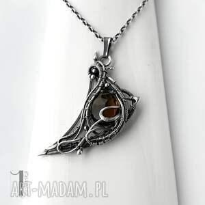 naszyjniki naszyjnik-wire-wrapping watra - srebrny naszyjnik z kwarcem